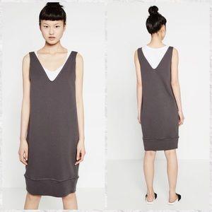 Zara V-Neck Cotton Sweatshirt Dress
